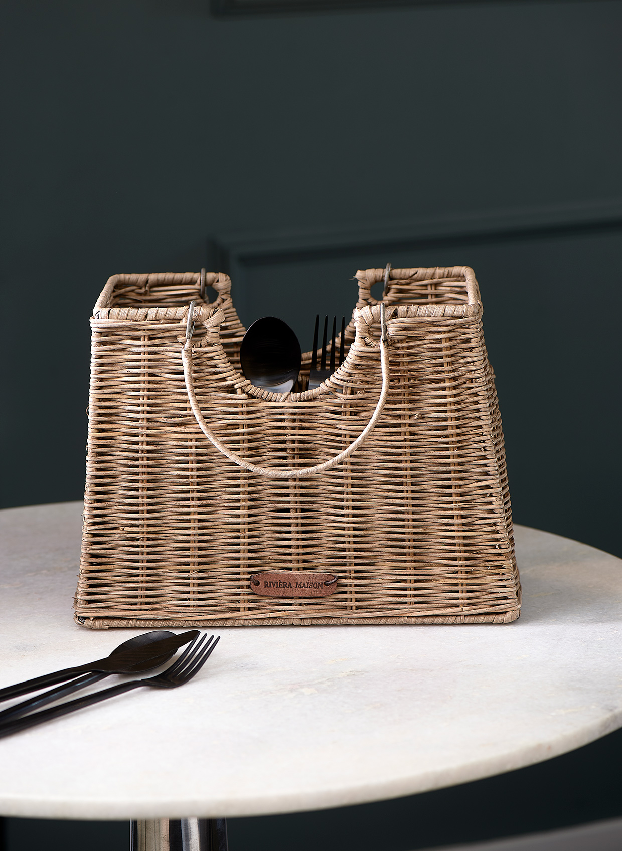 Rustic Rattan Cutlery Bag