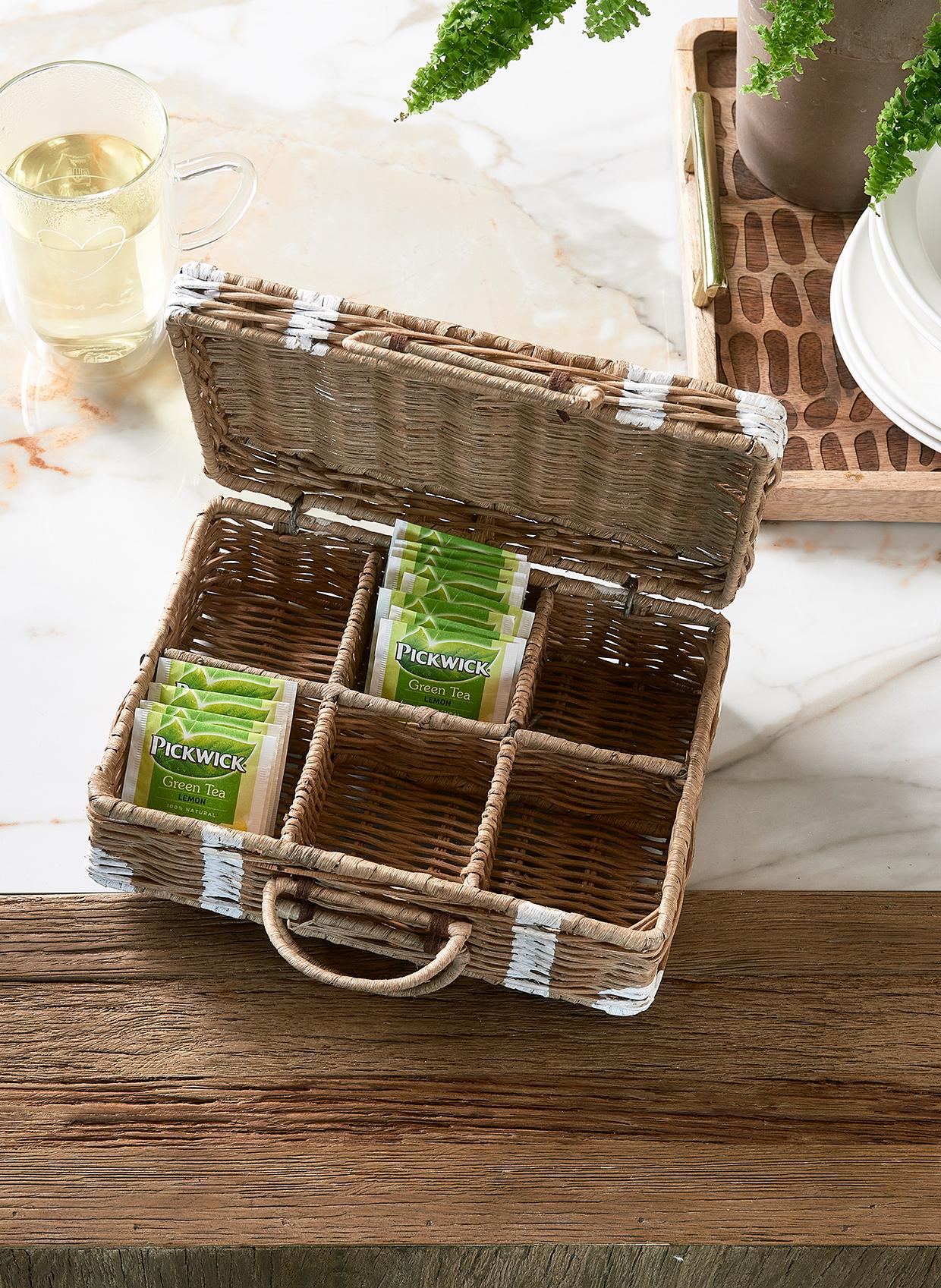 Rustic Rattan Suitcase Tea Box